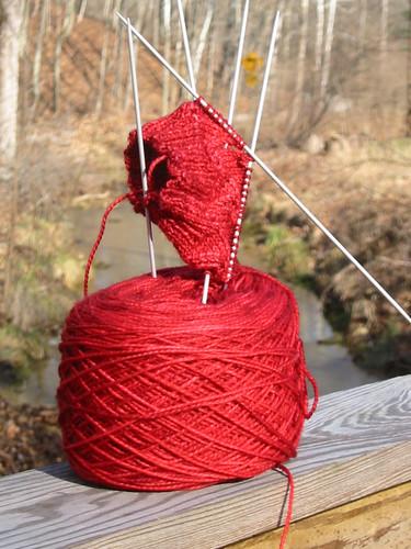 red swirl sock start
