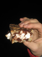 Close-up on a ciabatta caramel s'more