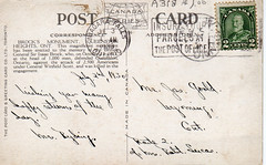 Back of a postcard (circa 1930)