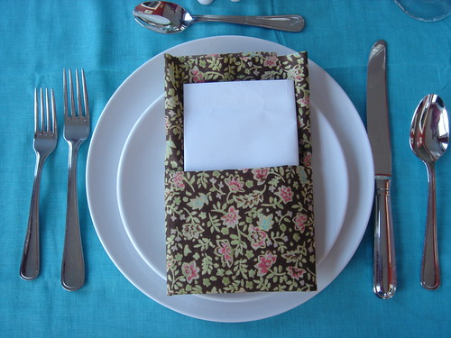 Folded Napkin with Menu inserted