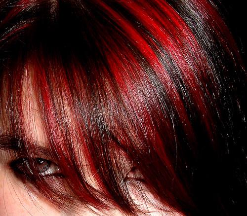 black hair red fringe