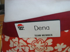 my pizza hut name tag on my apron