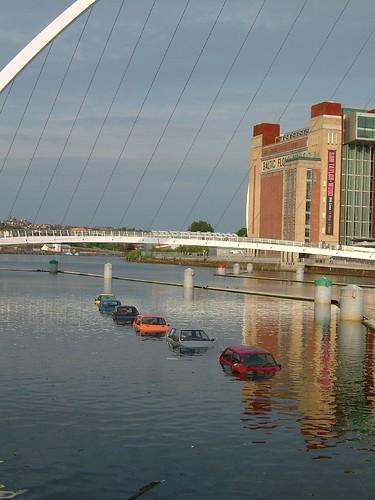 Newcastle Quayside - sunken cars and millenium bridge