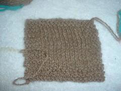 Camel yarn swatch blocked