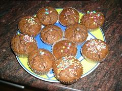 Magdalenas chocolate decoradas