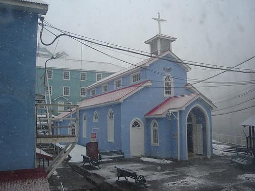 Iglesia de Sewell en un día de nieve