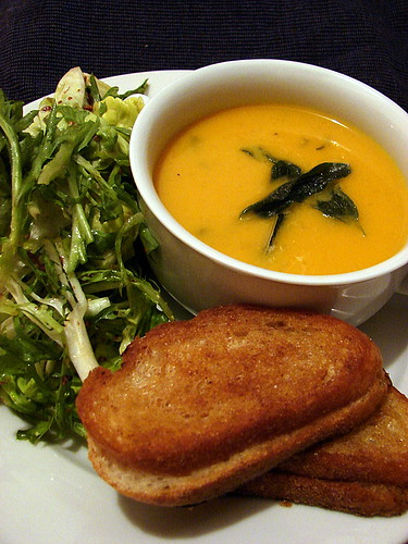 squash soup and sandwiches