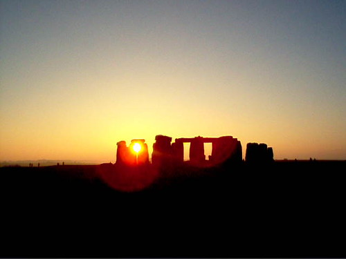 Sunset at Stonehenge at the Winter Solstice. - December 2004