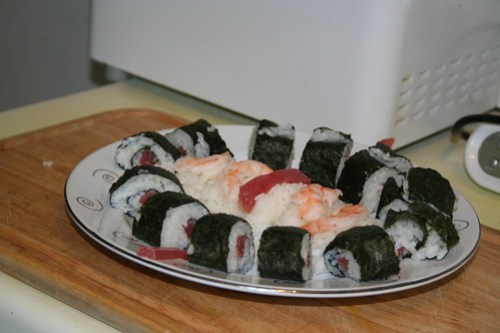 Finished plate of sushi