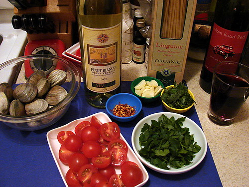 linguine with clams mise