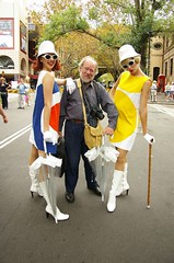 Philip Russell with street artists at The Rocks to celebrate Sydney Harbour Bridge 75th birthday