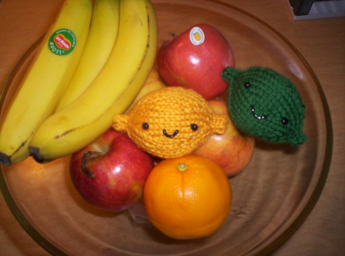 Knitted lemon and lime