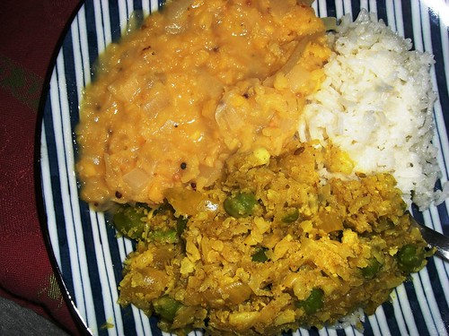Grated Curried Cauliflower & Gingered Lentils