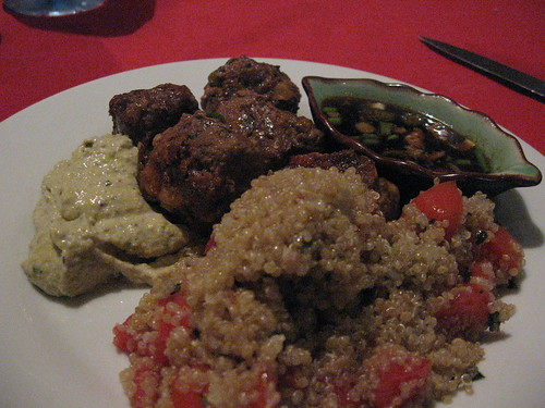 spicy meatballs, humus, soy-sesame dipping sauce, quinoa salad