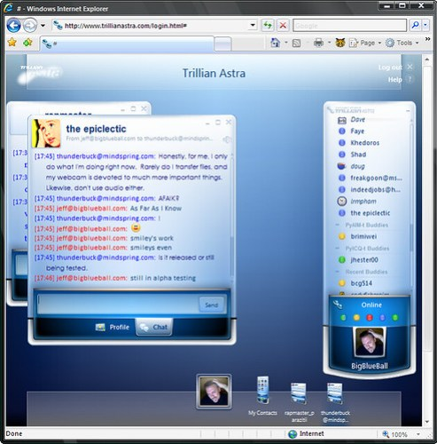 Trillian Astra web-based, multi-network instant messaging