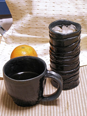 Fern trunc style coffee mug and Large coffee bawl 羊歯柱様珈琲杯 大珈琲椀