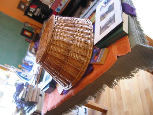 blocking sweater under basket