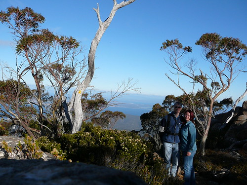 For dad: your son-in-law and daughter on the Ice House Track, Mt Wellington