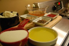 Mise en place for Endive Tatin with Goat Cheese