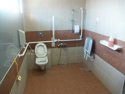bathroom with shower seat for disabled