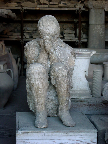 Petrified body at Pompei