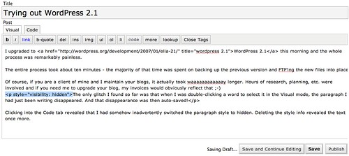 WordPress 2.1 write screen