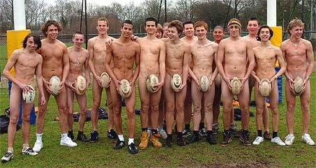 Naakte rugby spelers