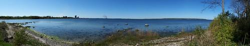 Udsigt over Guldborgsund med Stubbekøbing ovre til venstre i billedet...