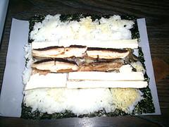 Los ingredientes ya puestos... se puede notar que el arroz me iba quedando atollado :S