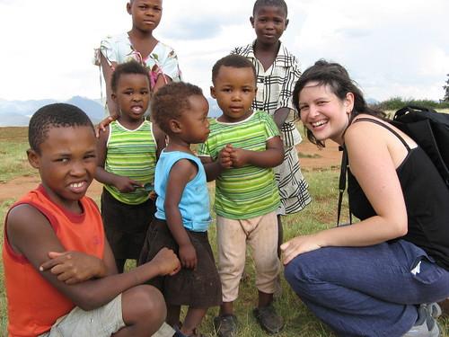 Anna and kids in Malealea, Lesotho