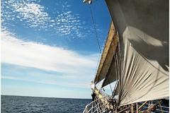 Bowsprit of Sørlandet and open sea