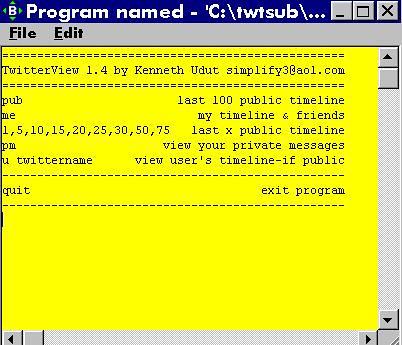 Twtview main menu
