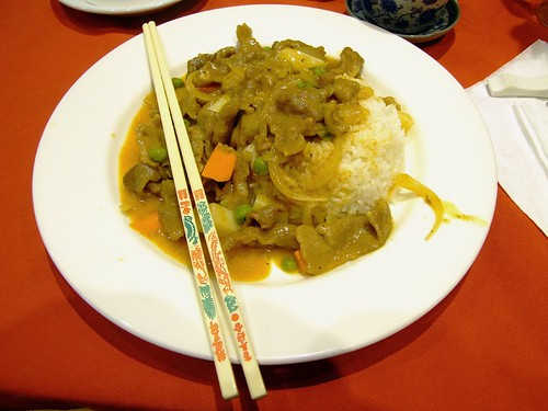 Curry Beef with rice at Satay House, Wollongong Mall