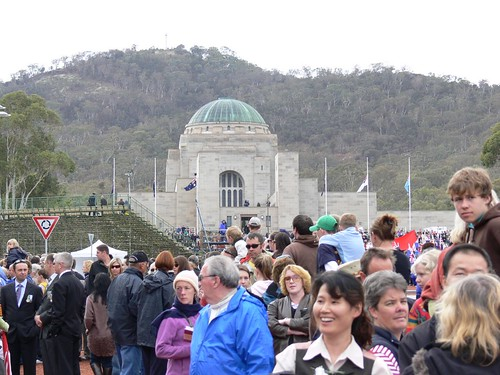 Crowds all the way up to the memorial