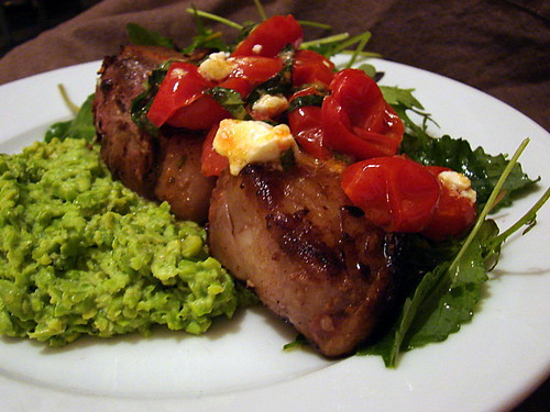 lamb chop, pea puree