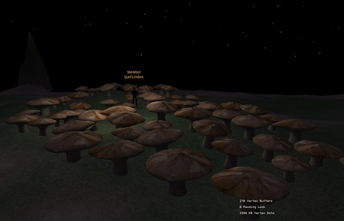 Sculpted prim mushrooms, by Qarl Linden