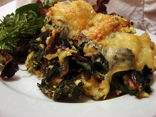 2 cheese mushroom chard bread pudding