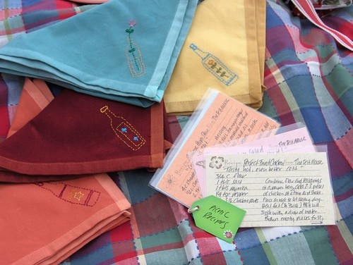embroidered napkins and recipes