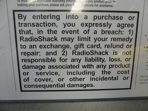 Radio Shack's evil EULA - by buying this, you waive your consumer rights