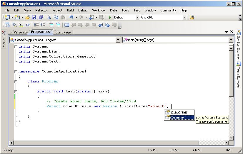 Screenshot of intellisense showing object initialisers in Orcas