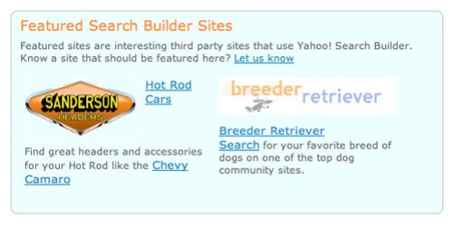 Yahoo Featured Search Builder Sites