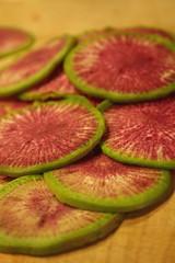 Sliced Watermelon Radishes