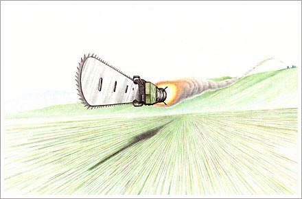 flying cjainsaw pencil sketch