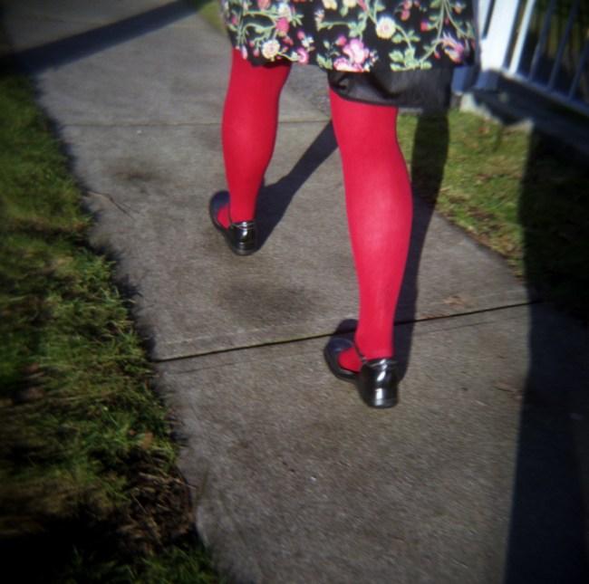 Mandy has red stockings