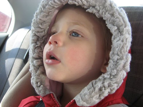 After swimming lessons, very tired.