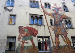 Colourful fresco od David and Goliath in Regensburg (Bavaria), Germany