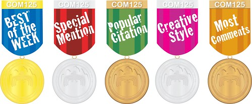 Medals for COM125 student bloggers