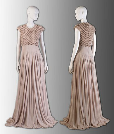 Alabaster hand-knotted silk jersey gown