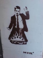 Burning briefcase