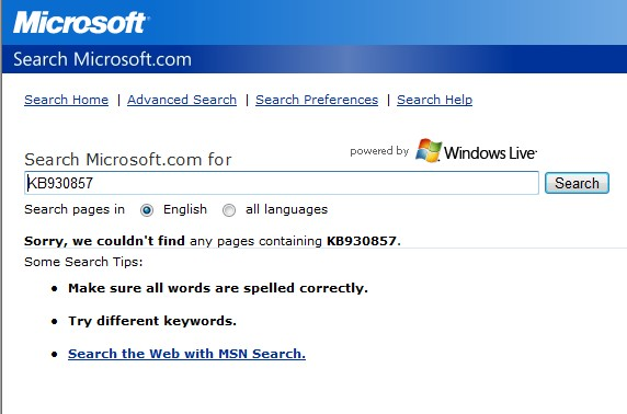 No Update KB in Microsoft Search System